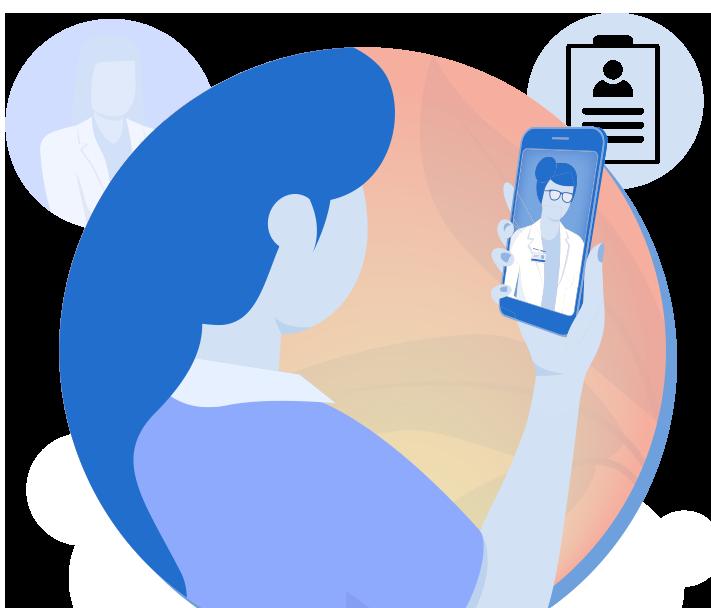 woman using smartphone app